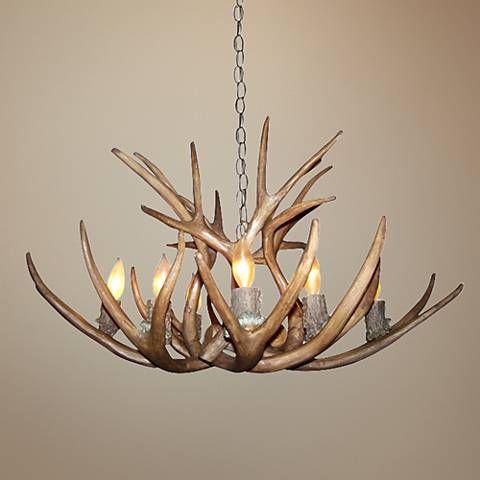 "Antler 28-30""W Reproduction Mule Deer 8-Light Chandelier - #8X413 | Lamps Plus"