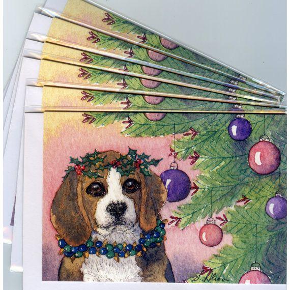 6 x Beagle dog Christmas holiday cards Xmas tree wreath