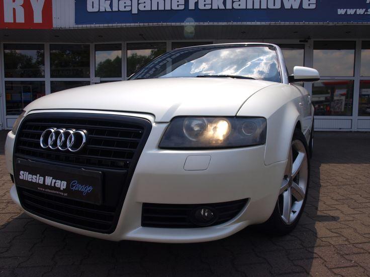 Audi A4 B6 Cabrio 3M Satin Pearl White Oklejanie Samochodów Ruda Śląska