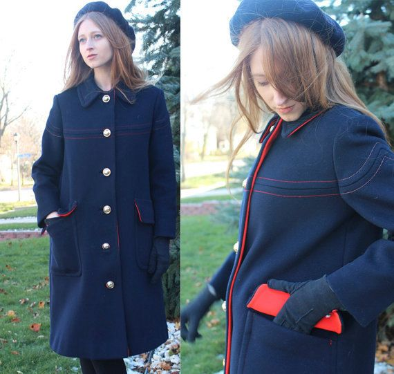 60s Modern TRENCH COAT Vintage Wool Knit PAN Collar OverCoat Union Made Medium Size Woman's Blue & Red Satin Lining long length Warm Jacket by HarlowGirls on Etsy