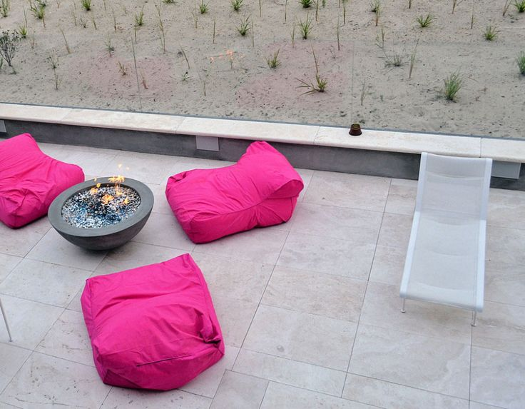 Beach House:Two Storey Beach House 3 Pink Sofas Round Grey Fire Pit White Lounge Cream Floor US Ceramic Tile Rectangle Stone Outdoor Ceramic...