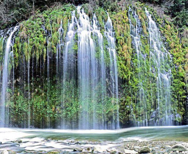 Мосбрай - уникальный водопад. Вода льется по мшистым стенам каньона в реку Сакраменто, США