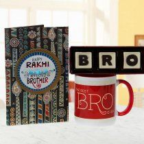 "Perfect Brother Hamper - This hamper consists of a ""Happy Rakhi"" card with a wonderful message, a cool blue&white colour beaded rakhi, a ""Best Bro ever"" Mug and a set of handmade chocolates with ""Bro"" written on it. Buy @ http://www.floweraura.com/online-rakhi-gifts"