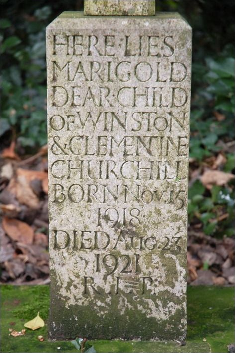 Grave of Marigold Churchill, daughter of Winston and Clementine Churchill. Kensal Green Cemetery, London.