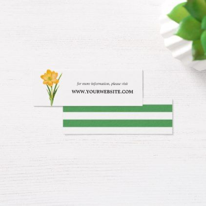 Trendy Flower YELLOW CROCUS  Website Cards | Mini - spring wedding diy marriage customize personalize couple idea individuel