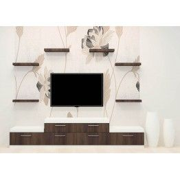 Flower detail on backside of wall papper makes to buy in this glamorous furniture set. In this laminate finish TV Unit made out of plywood material. Drawers, shelves  plus its top space  place the essentials things