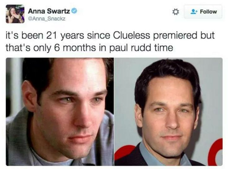 Paul Rudd, the Incredible Never-Aging Man (coming soon from Marvel Studios)