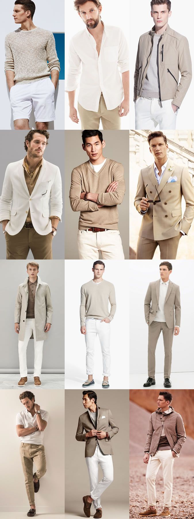 Diversify color in your wardrobe: Khaki and White; Brown and Navy; Blue & Green; White and Black.