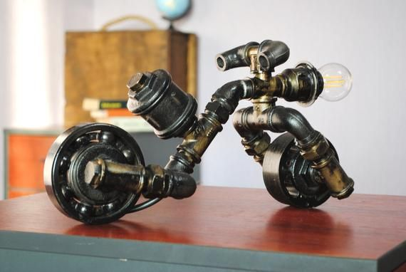Motorcycle lamp Iron pipe table lamp passover gift Lamp edison Log home lighting Lamp industrial style Steampunk lamp