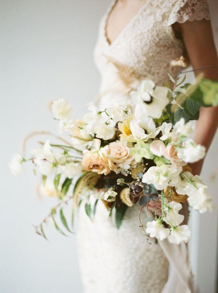 beautiful pale peach and white romantic bridal bouquet