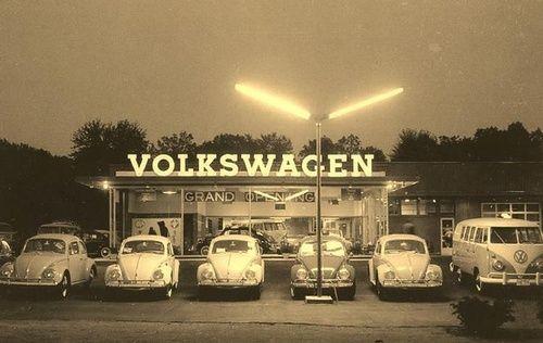 VW Dealership Vintage Beetles and Bus