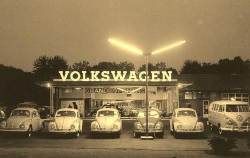 VW Dealership Vintage Beetles and Bus