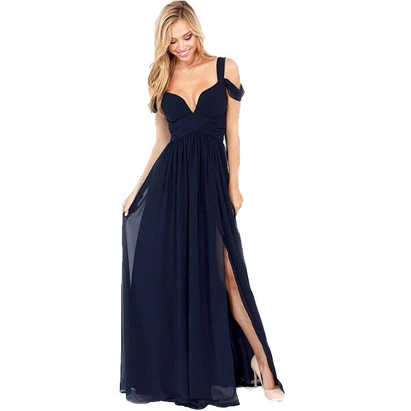 Gorgeous Solid V Neck Chiffon Maxi Formal Dresses