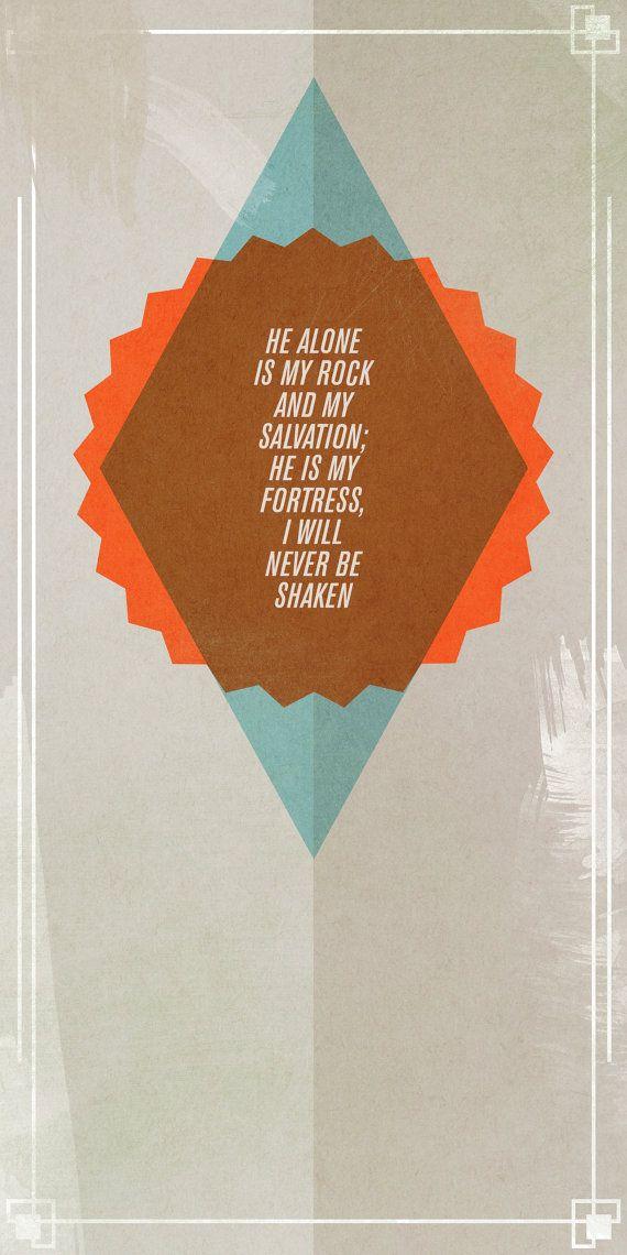 Psalm 62:2 - typographic print