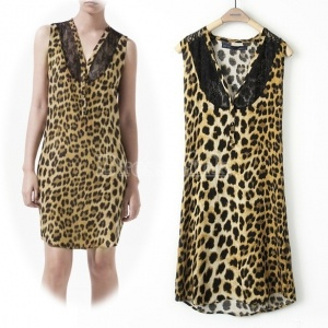 $7.20 Women's Fashion Sexy Lace V-neck Sleeveless Dress Dresses Leopard Printing