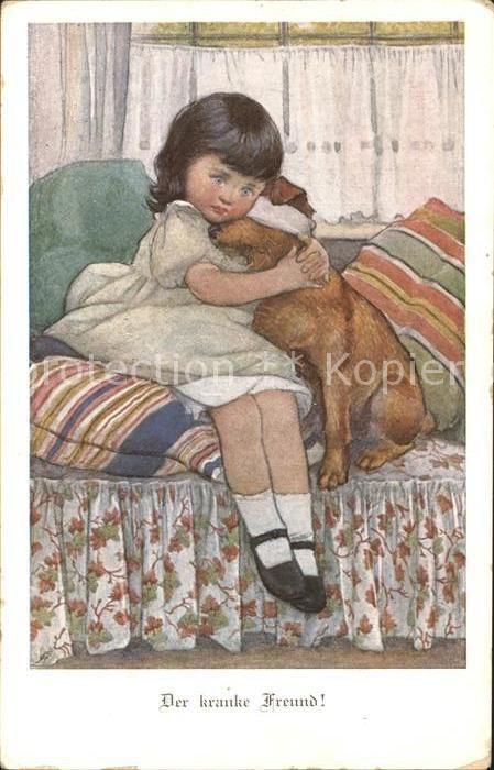 Munk M. Wien Vienne Nr. 713 Der kranke Freund Kind Hund  Kat. Kuenstlerkarte 0