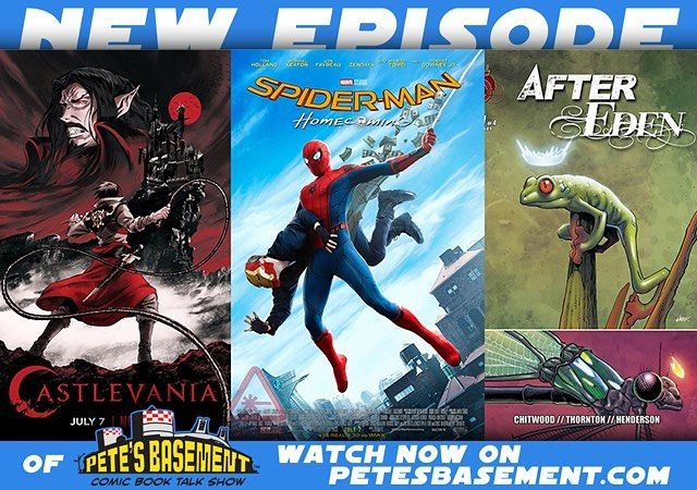 The boys hit the roundtable for a spoiler-free review of Spider-Man: Homecoming! Spidey megafans Pete and Rich touch on supporting cast character alterations how awesome was Michael Keaton's Vulture and what it means to be a bully in the 2000-teens. Also this week is Netflix's Castlevania! Pete's favorite old school video game comes to life and the boys couldn't be happier with the turnout! A bunch of comic reviews including some more cool Indie books plus a discussion on CGC vs. PGX vs…