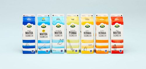 Creative agency 358 designed bright, watercolor inspired packaging for Arla milk in Finland. The...