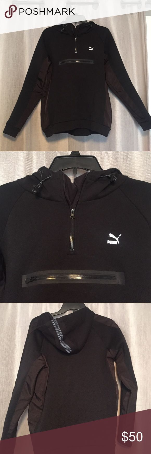 Neoprene Puma Sweatshirt Like new puma sweatshirt. Great condition! Puma logo on front and back of hood are reflective. Puma Tops Sweatshirts & Hoodies