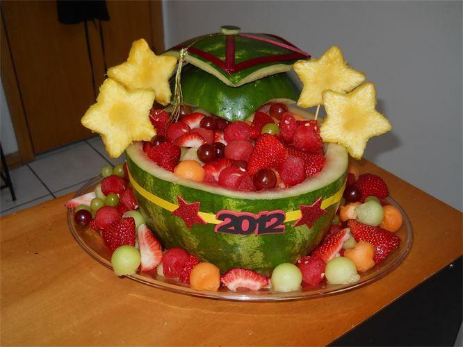 Watermelon carvings for graduation basket