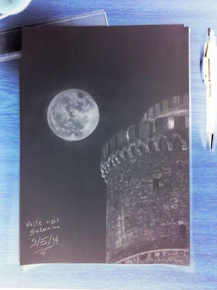 White Night Salonica - Negative Pencil Drawing