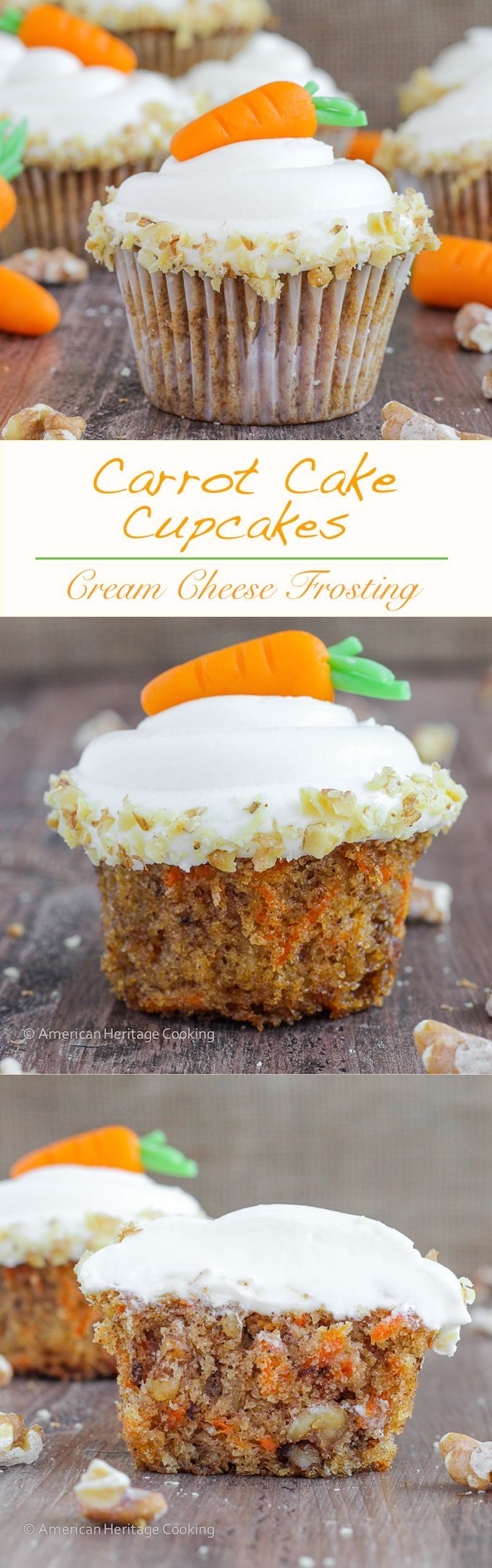 These are the moistest, most delicious Carrot Cake Cupcakes | A recipe I learned in culinary school that my husband said were the best ever! Perfect for Easter! #carootcakecupcakes #easterdessertrecipe #easterrecipe #eastercupcake #americanheritagecooking