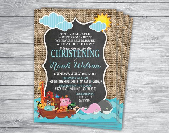 BAPTISM DEDICATION CHRISTENING Noah's Ark Invitation by PrintPros