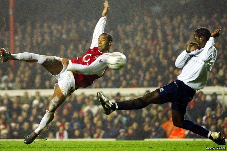 December 2002: Henry hits a volley against Middlesbrough as Arsenal win 2-0