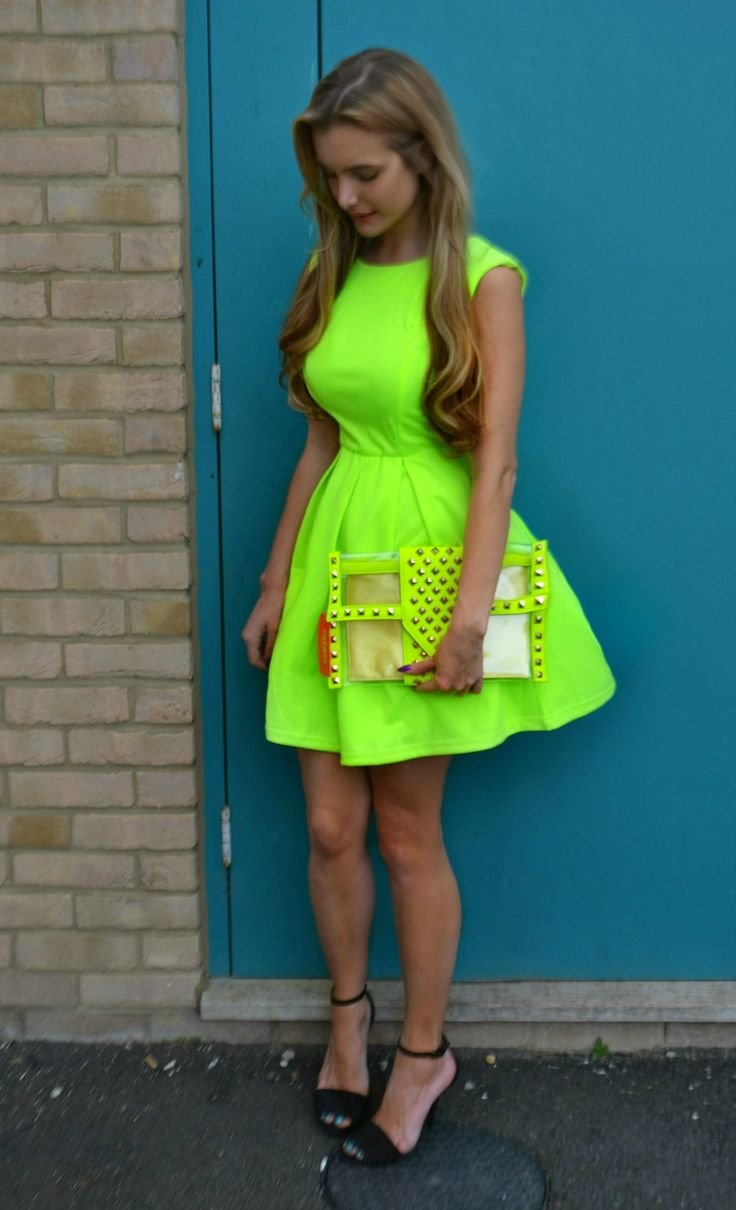 Fashion week Blue neon dress tumblr for girls
