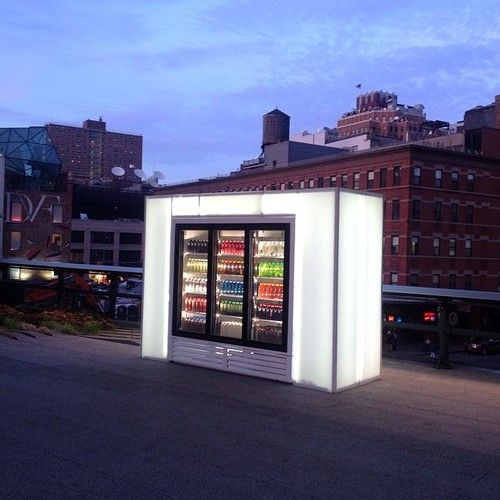 Josh Kline, 'Skittles', 2014 Kline presents Skittles, an industrial refrigerator containing smoothies produced by the artist usi...