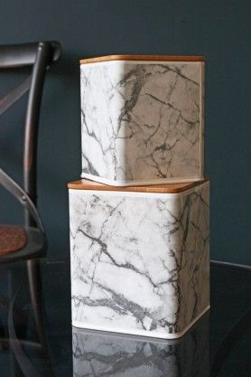 Marble Print Storage Tin with Wooden Lid