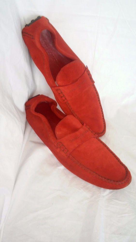 Louis Vuitton Red Hockenheim Suede Size USA 13 EUR 12 Loafers #LouisVuitton #LoafersSlipOns