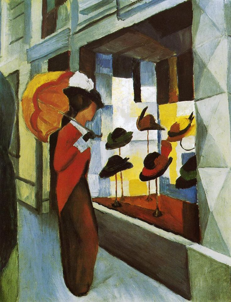 august macke(1887-1914), hat shop, 1914. oil on canvas, 60.5 x 50.5 cm. museum folkwang, essen, germany http://www.the-athenaeum.org/art/detail.php?ID=21024
