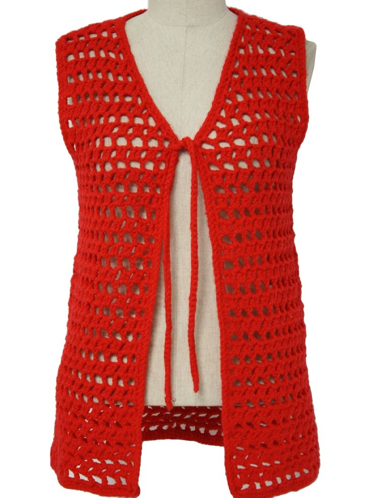 70s -home crafter- Womens bright red worsted weight acrylic open lacey pattern crochet sleeves hip length vest with matching tie.