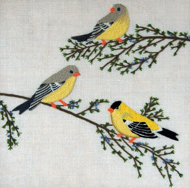 Goldfinches Crewel Kit  from Custom House: This Crewel Embroidery Kit includes a pre-printed 100% linen canvas, yarn and needles as well as detailed instructions.   Finished size 12-inches x 12-inches.  Please note: embroidery hoop is not included. $20.00