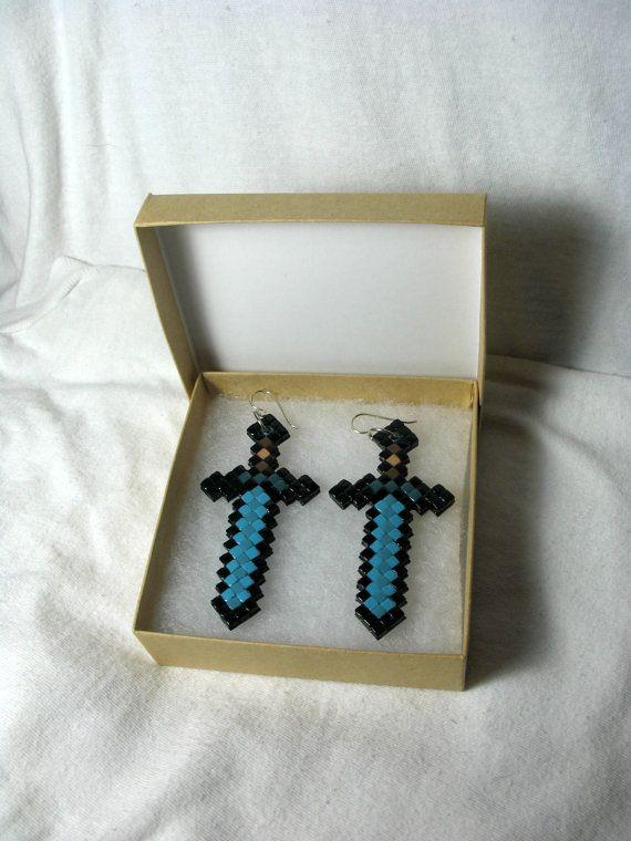 Minecraft Diamond Sword Earrings by TheClaySpectrum on Etsy,