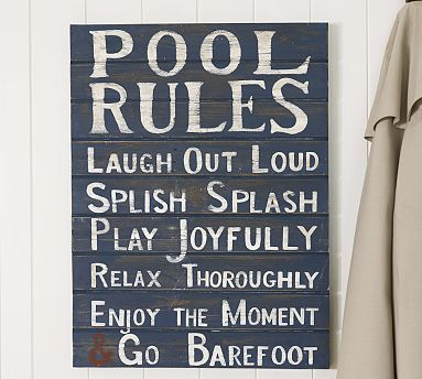 pool rules sign potterybarn - Pool Signs