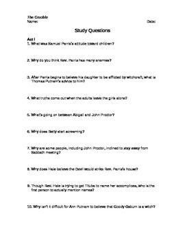This packet based on The Crucible, by Arthur Miller, includes study questions for each act of the play, post-reading questions, and an essay question.