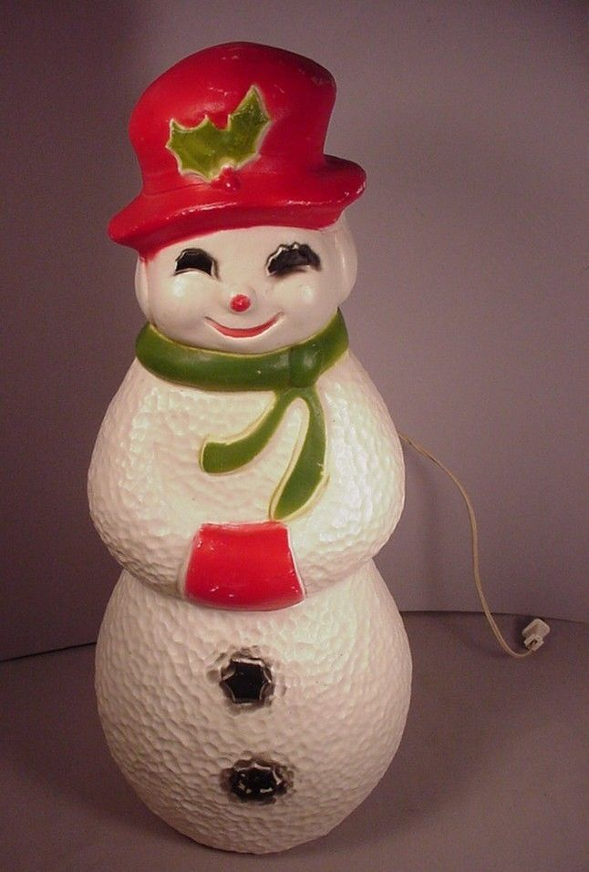 Vintage 1960 39 s christmas snowman light up plastic blow for Plastic snowman