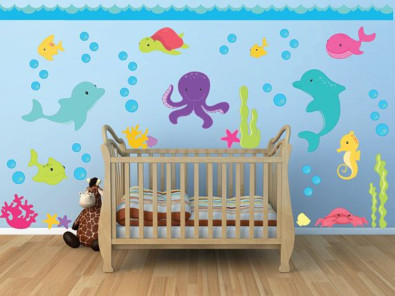 Ocean Theme Wall Decals, Ocean Kids Room, Ocean Nursery, Ocean Kids Room Worried about the decals not sticking? Try our product risk free! 100% MONEY BACK GUARANTEE within 30 days of receiving your shipment. If your decals have any trouble sticking we will give you the choice of