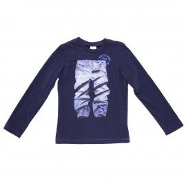 T-shirt stampata in jersey di cotone blu navy