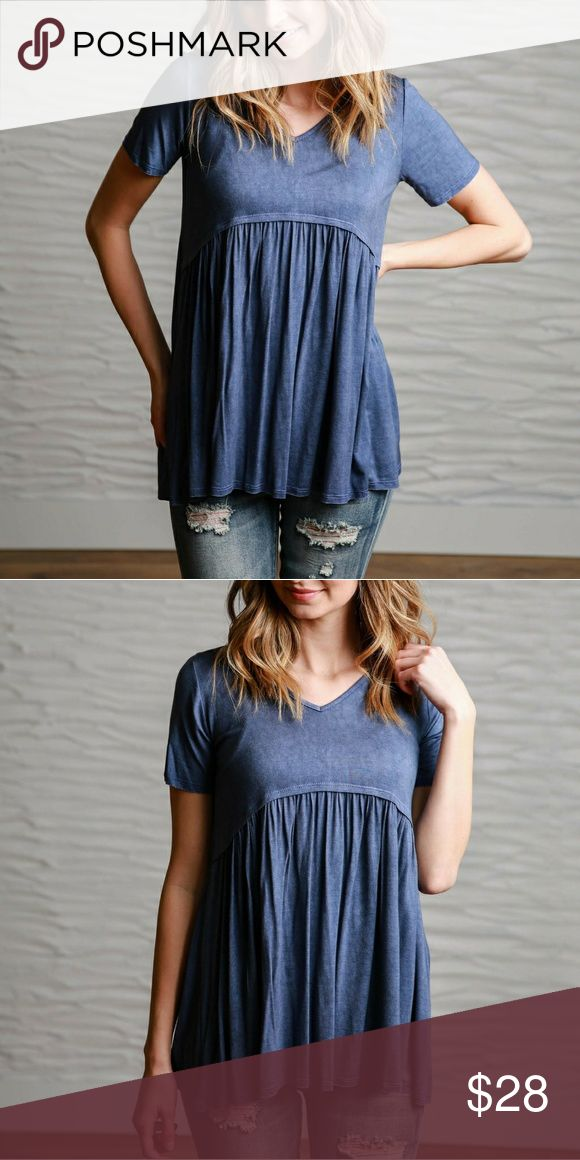 Navy Tee Brand new.  Purchase from an online boutique, it did not come with attached tags. Flamingo Urban  Tops Blouses
