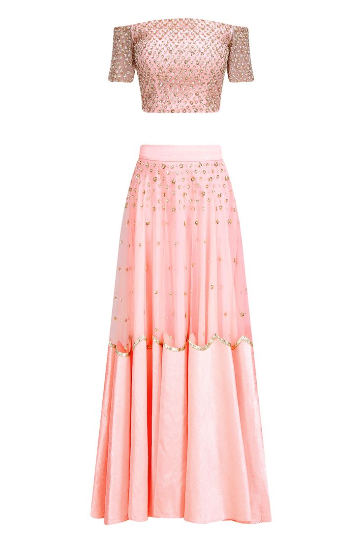 Pink sequins embroidered off shoulder blouse and lehenga set available only at Pernia's Pop Up Shop.