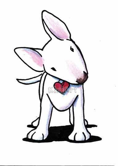 Art: Curious White Bull Terrier by Artist KiniArt