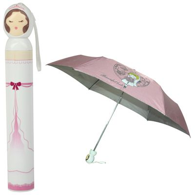 [USD3.75] [EUR3.35] [GBP2.69] Fashion Folding Bottle Umbrella Brolly Parasol with Girl Shaped Case(Pink)