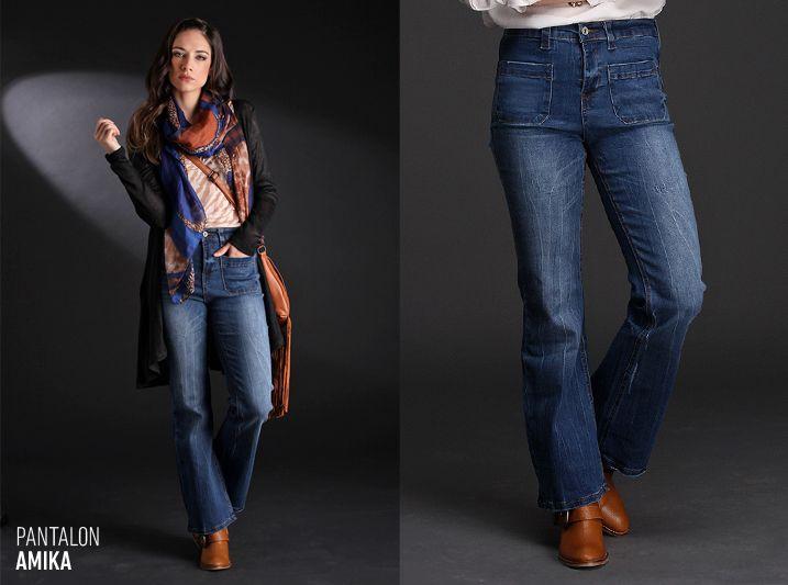 El Pantalón Amika está realizado en denim confort elastizado lo que te asegura un calce ideal. De tiro medio alto y corte oxford, este jean es un #must de temporada.
