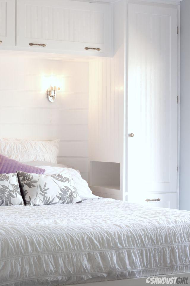 clever clever clever! Bedside nook carved into Built-in Wardrobes