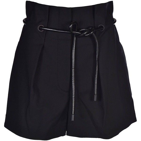 Pleated Shorts (3 780 ZAR) ❤ liked on Polyvore featuring shorts, black, draw string shorts, drawstring shorts, pleated shorts, 3.1 phillip lim shorts and short shorts