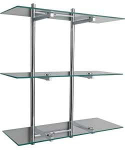 Wall Rack with Glass Shelves.