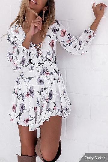 White Floral Print Lace-Up Lantern Sleeve Mini Dress
